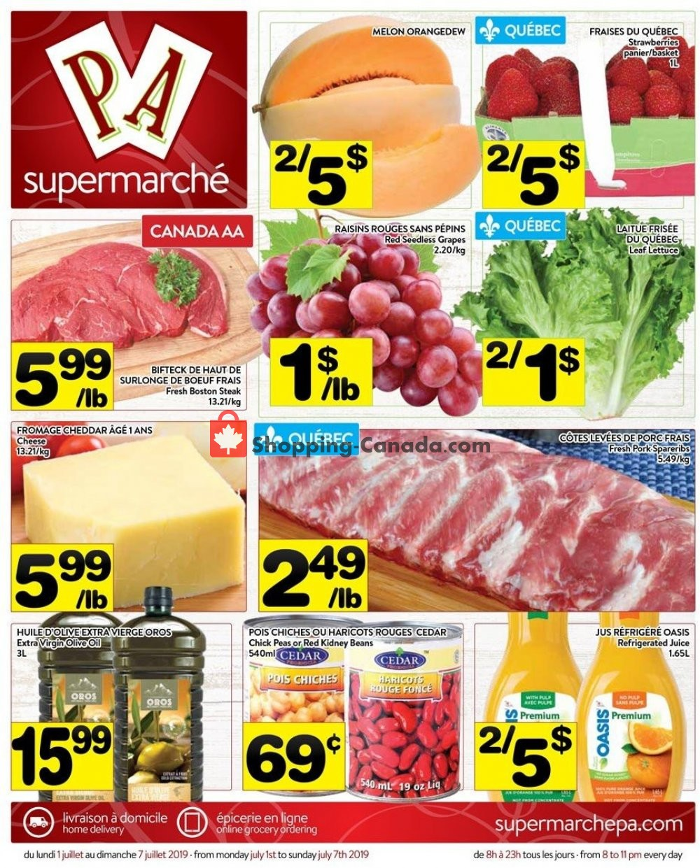 Flyer Supermarché PA Canada - from Monday July 1, 2019 to Sunday July 7, 2019