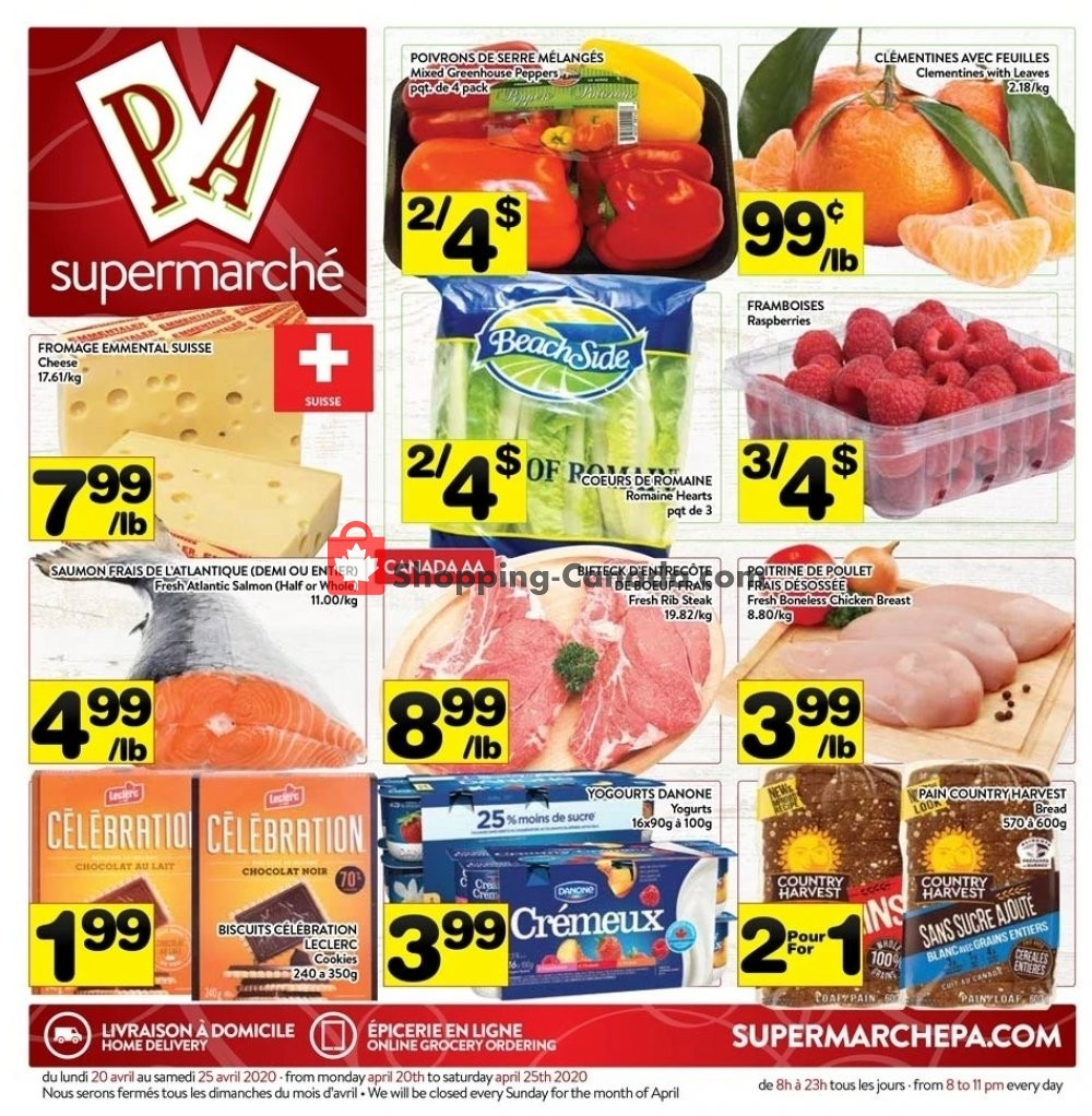 Flyer Supermarché PA Canada - from Monday April 20, 2020 to Saturday April 25, 2020