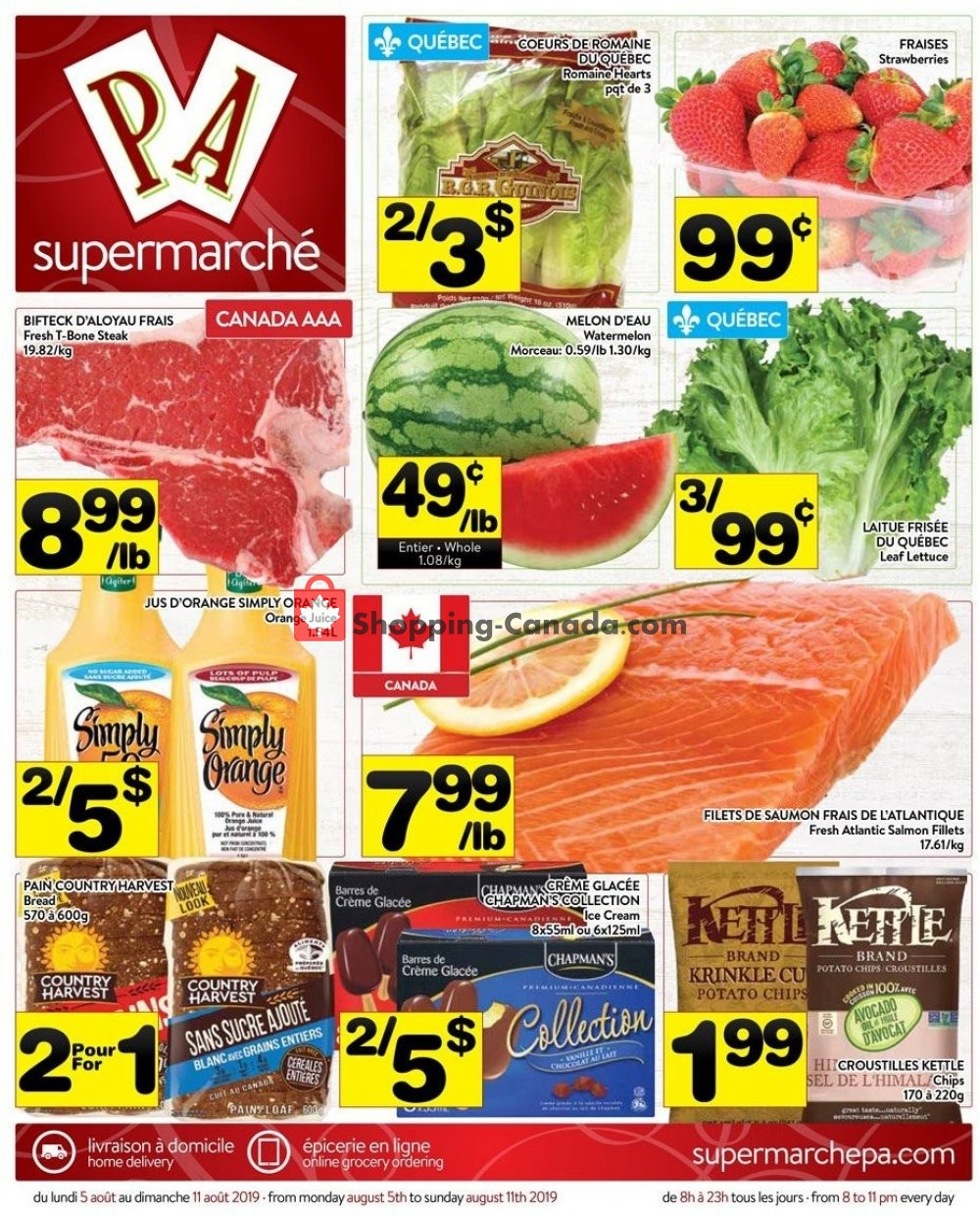 Flyer Supermarché PA Canada - from Monday August 5, 2019 to Sunday August 11, 2019