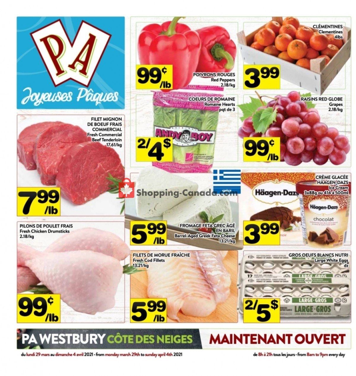Flyer Supermarché PA Canada - from Monday March 29, 2021 to Sunday April 4, 2021