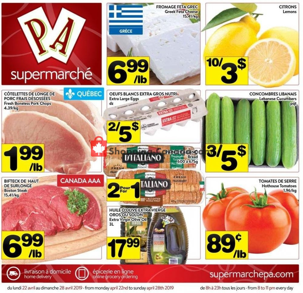 Flyer Supermarché PA Canada - from Monday April 22, 2019 to Sunday April 28, 2019