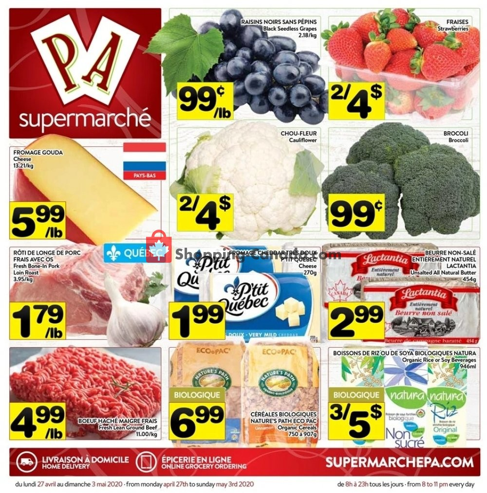 Flyer Supermarché PA Canada - from Monday April 27, 2020 to Sunday May 3, 2020