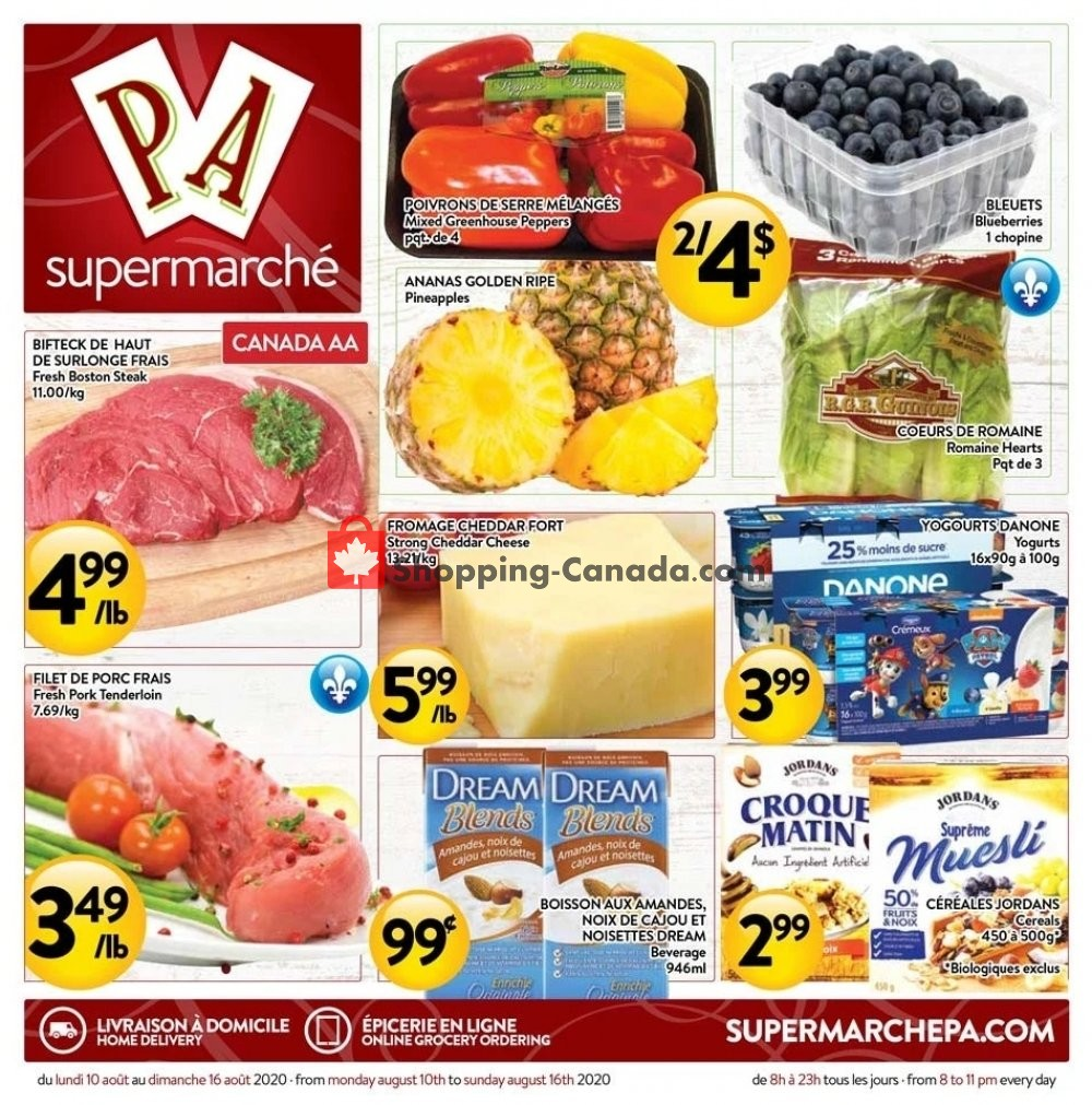 Flyer Supermarché PA Canada - from Monday August 10, 2020 to Sunday August 16, 2020