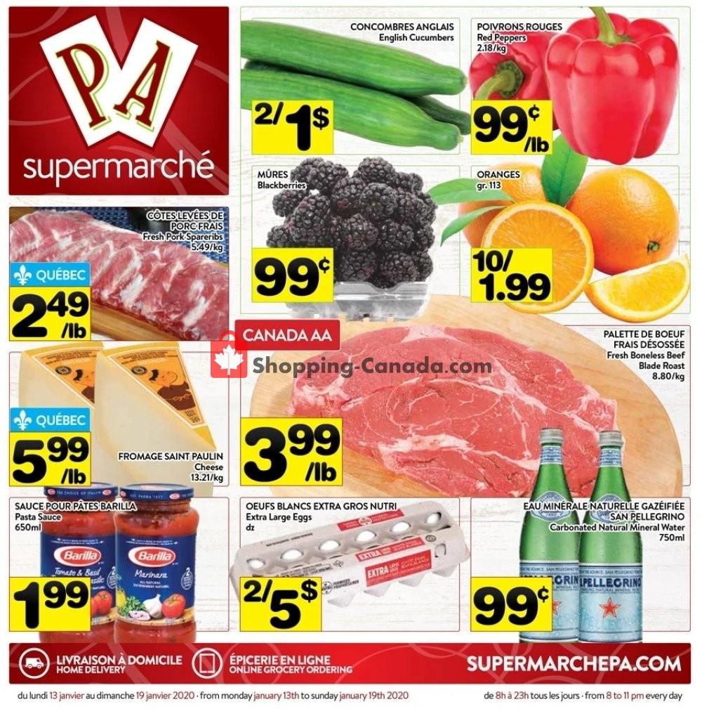 Flyer Supermarché PA Canada - from Monday January 13, 2020 to Sunday January 19, 2020