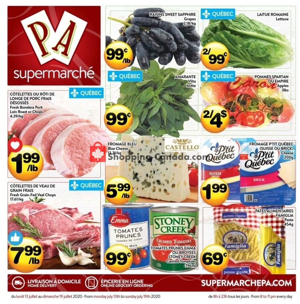 Flyer Supermarché PA Canada - from Monday July 13, 2020 to Sunday July 19, 2020