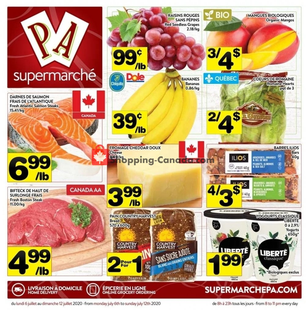 Flyer Supermarché PA Canada - from Monday July 6, 2020 to Sunday July 12, 2020