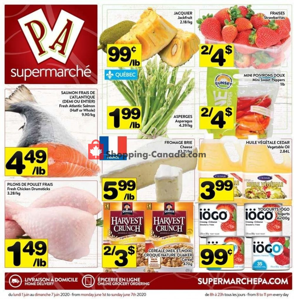 Flyer Supermarché PA Canada - from Monday June 1, 2020 to Sunday June 7, 2020