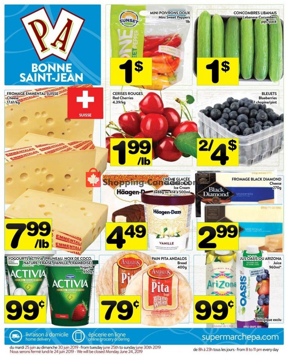 Flyer Supermarché PA Canada - from Tuesday June 25, 2019 to Sunday June 30, 2019