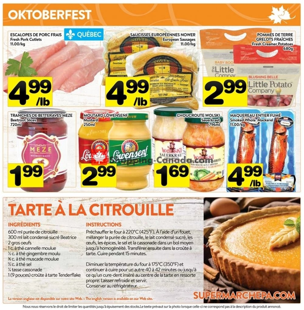 Flyer Supermarché PA Canada - from Monday October 7, 2019 to Sunday October 13, 2019