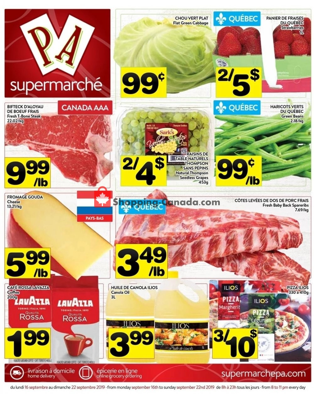 Flyer Supermarché PA Canada - from Monday September 16, 2019 to Sunday September 22, 2019
