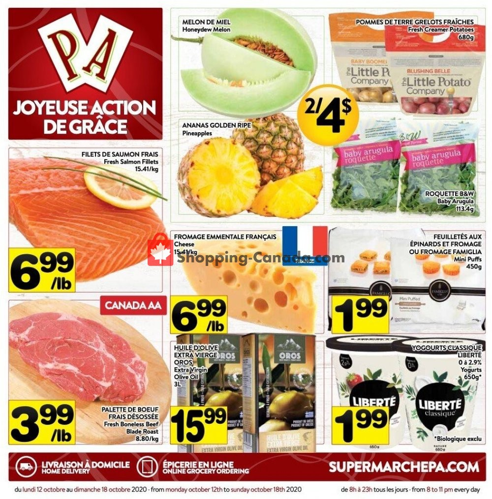 Flyer Supermarché PA Canada - from Monday October 12, 2020 to Sunday October 18, 2020