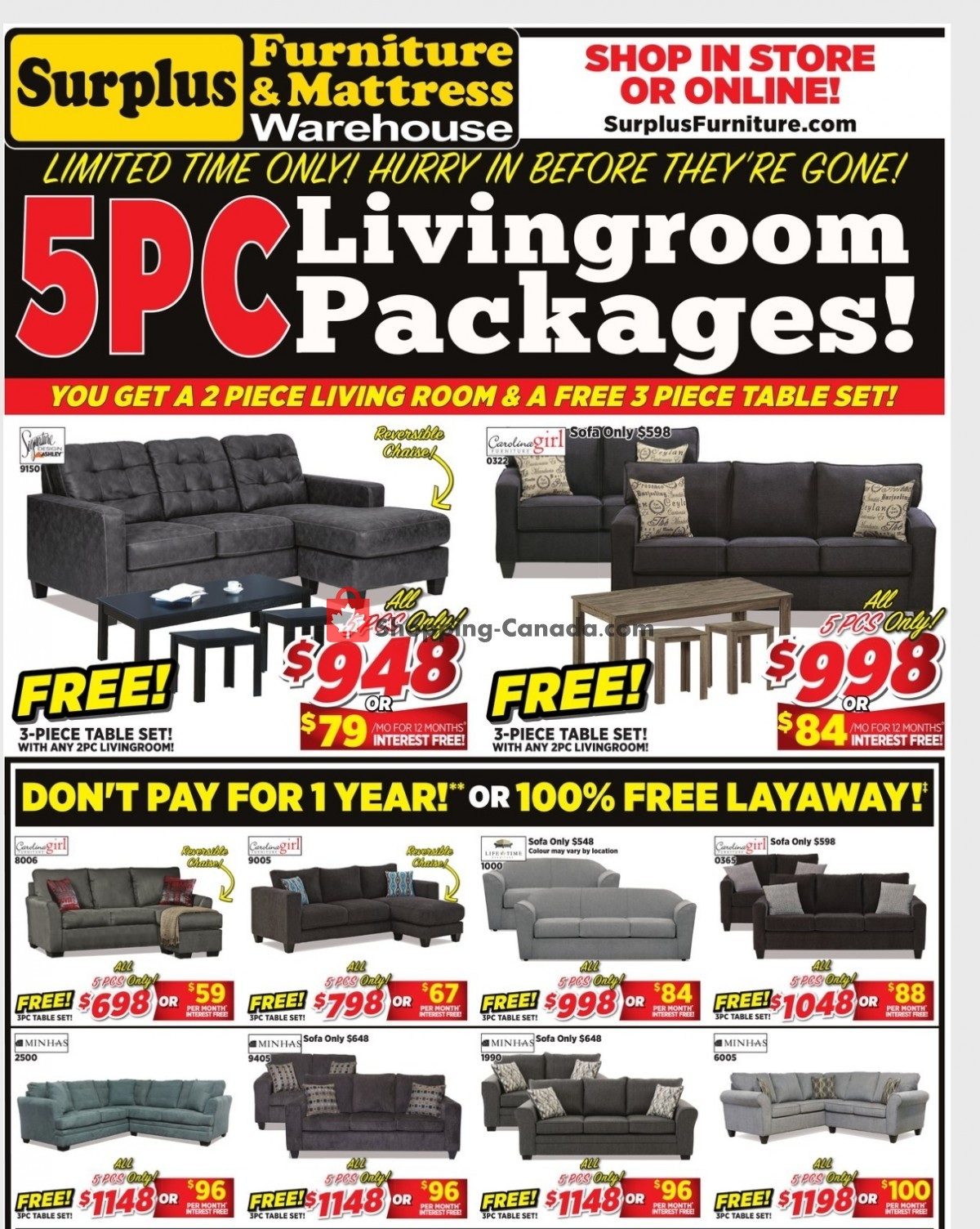 Flyer Surplus Furniture And Mattress Store Canada - from Monday March 29, 2021 to Sunday April 4, 2021