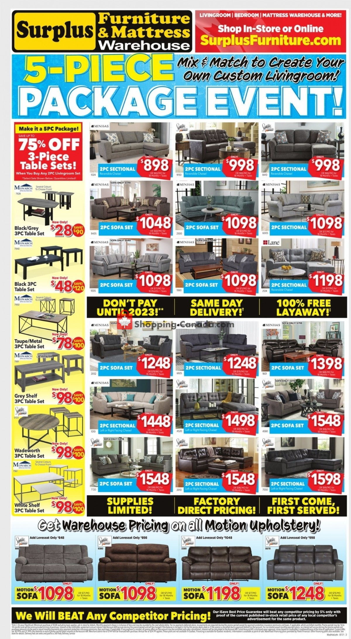 Flyer Surplus Furniture And Mattress Store Canada - from Monday July 12, 2021 to Sunday August 1, 2021