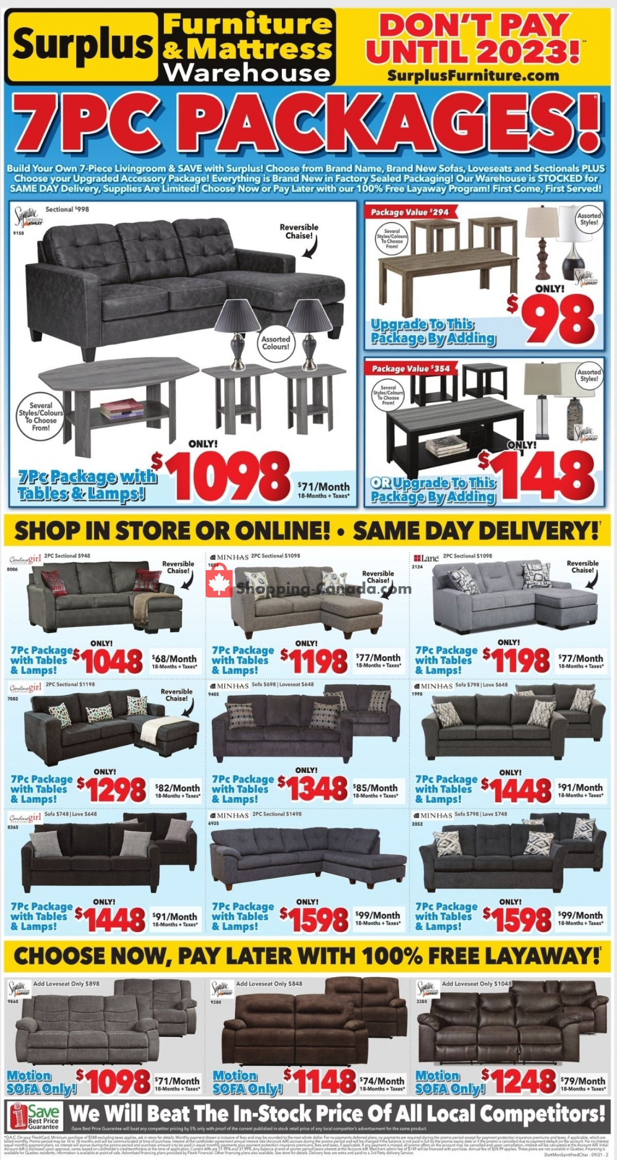 Flyer Surplus Furniture And Mattress Store Canada - from Monday September 6, 2021 to Sunday September 19, 2021