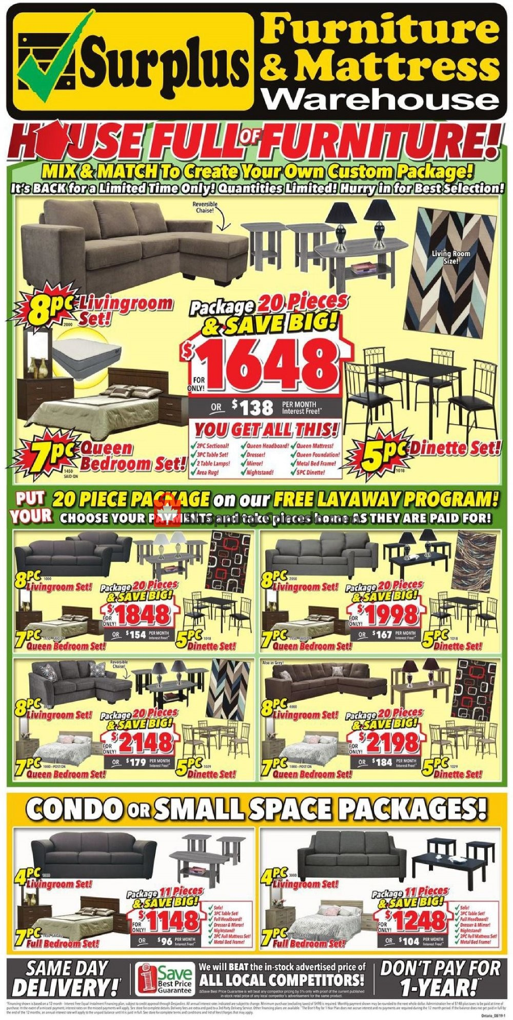 Flyer Surplus Furniture And Mattress Store Canada - from Tuesday July 30, 2019 to Monday August 12, 2019