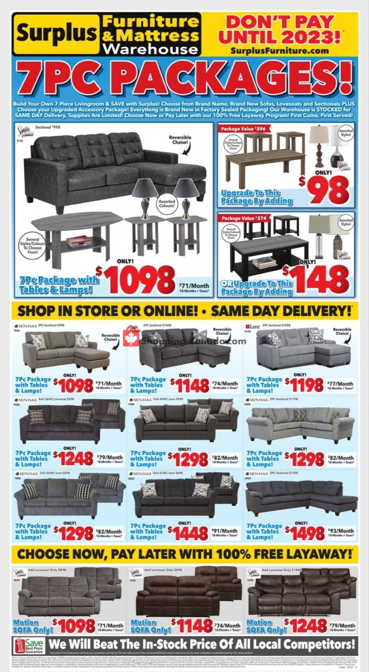 Flyer Surplus Furniture And Mattress Store Canada - from Monday September 6, 2021 to Sunday September 12, 2021