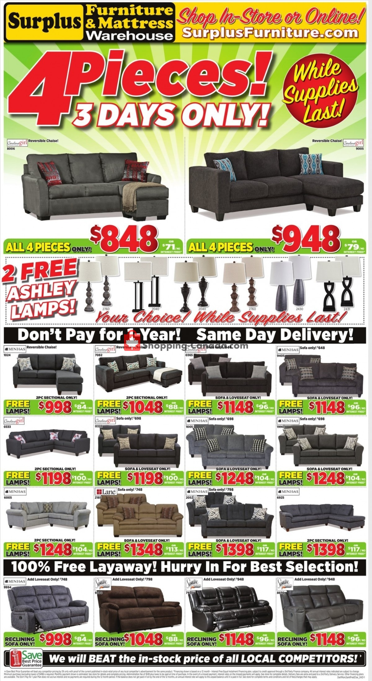 Flyer Surplus Furniture And Mattress Store Canada - from Monday April 5, 2021 to Sunday April 11, 2021
