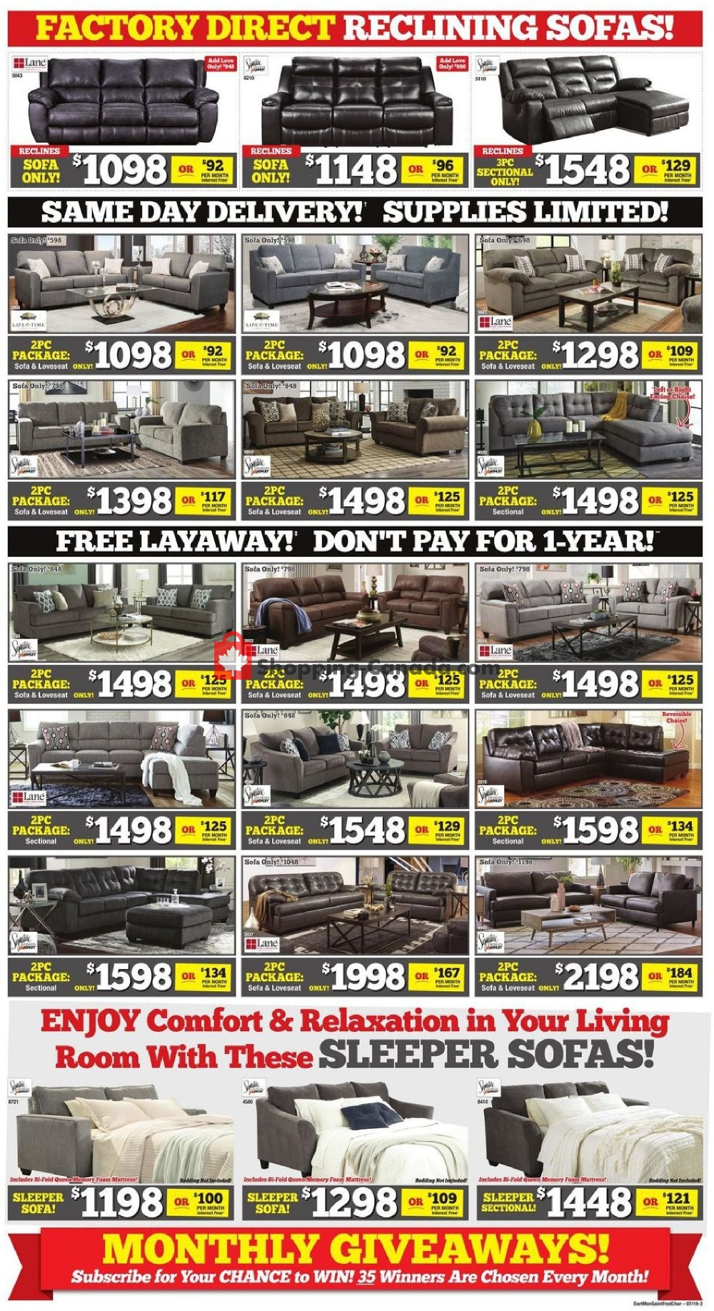 Flyer Surplus Furniture And Mattress Store Canada - from Tuesday July 9, 2019 to Monday July 29, 2019