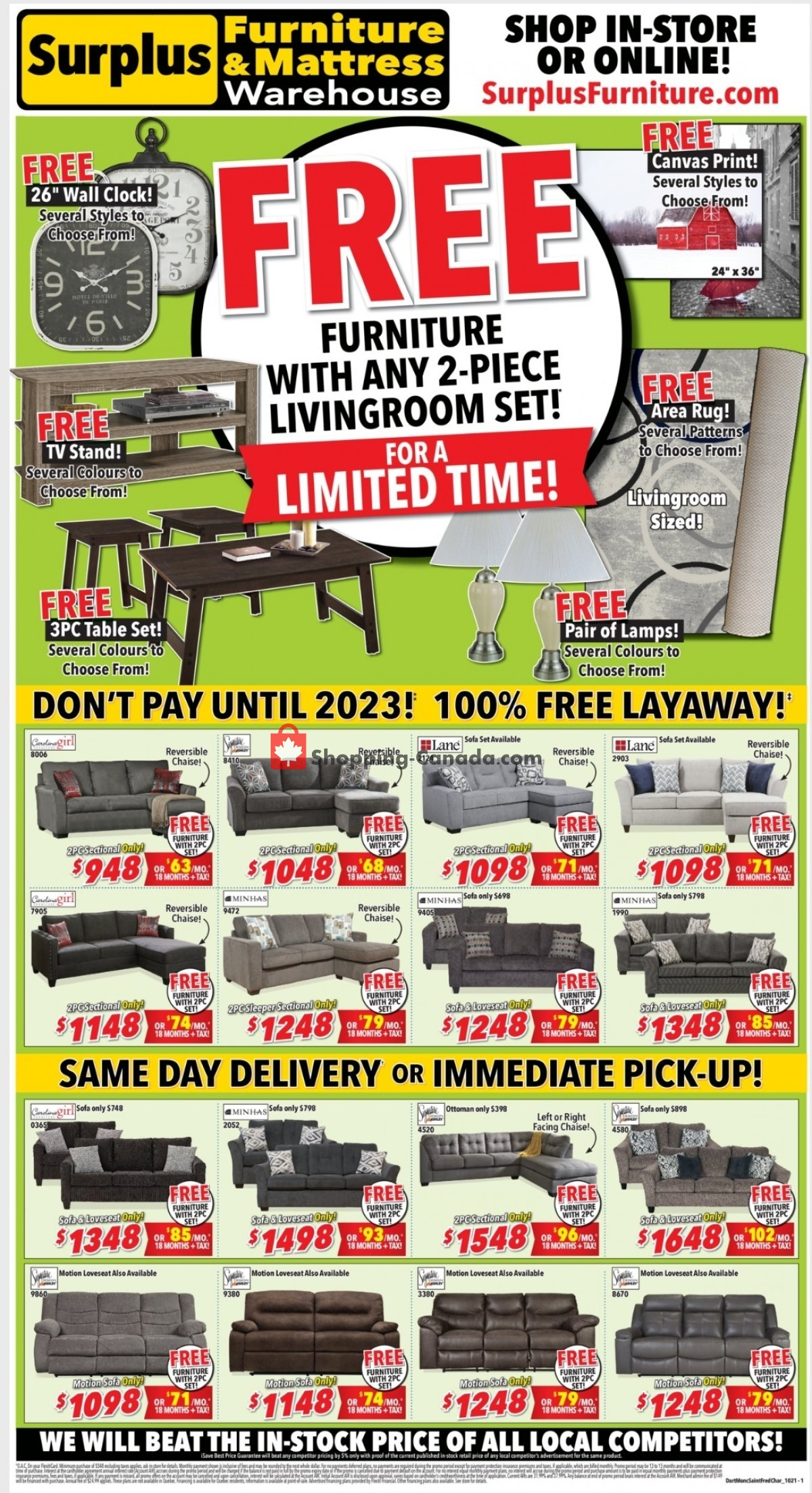 Flyer Surplus Furniture And Mattress Store Canada - from Monday October 4, 2021 to Sunday October 24, 2021