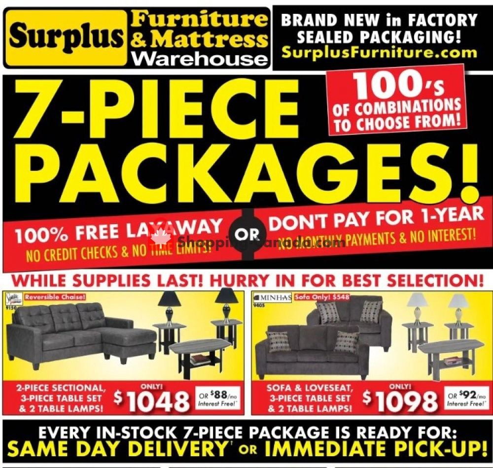 Flyer Surplus Furniture And Mattress Store Canada - from Tuesday June 2, 2020 to Monday June 29, 2020