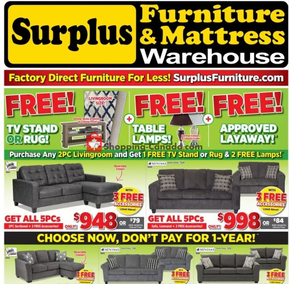 Flyer Surplus Furniture And Mattress Store Canada - from Tuesday June 30, 2020 to Monday July 27, 2020
