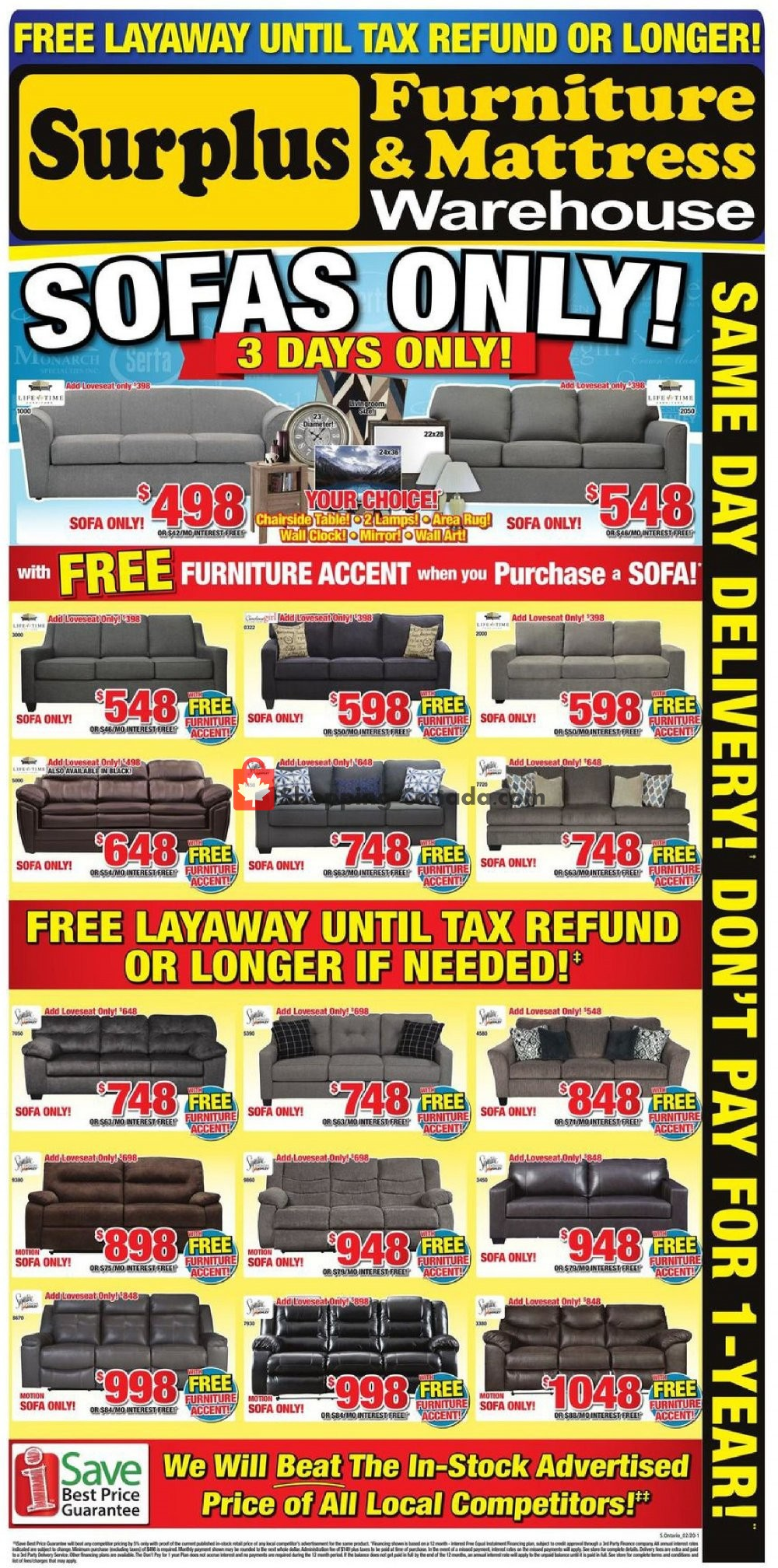 Flyer Surplus Furniture And Mattress Store Canada - from Tuesday January 28, 2020 to Monday February 3, 2020