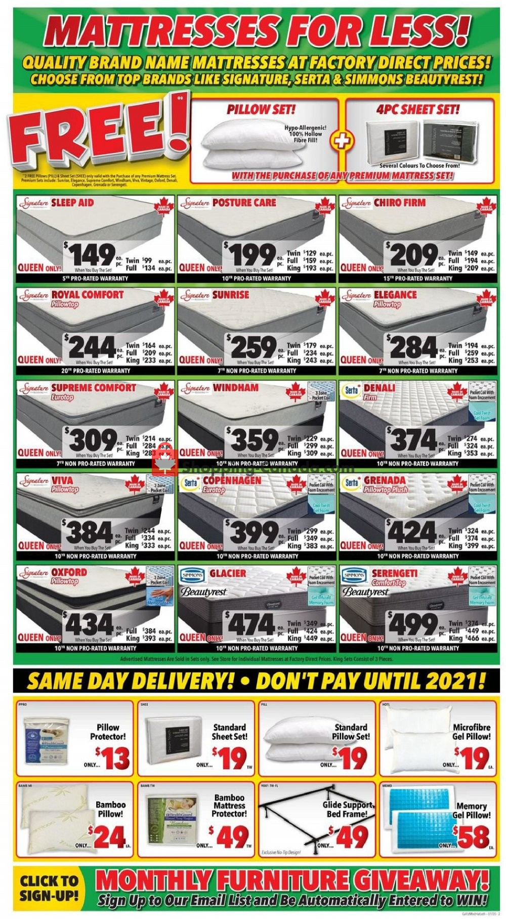Flyer Surplus Furniture And Mattress Store Canada - from Tuesday January 14, 2020 to Monday January 27, 2020