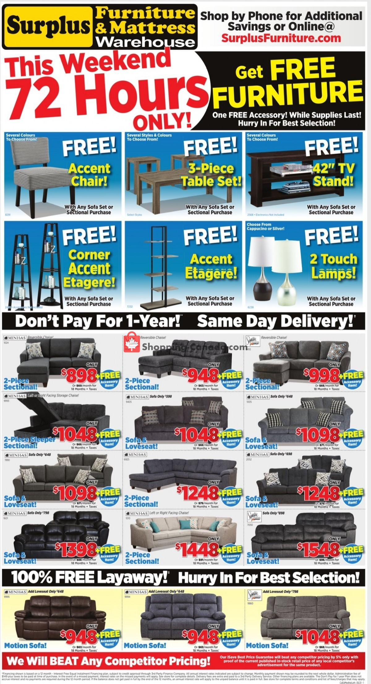Flyer Surplus Furniture And Mattress Store Canada - from Monday May 3, 2021 to Sunday May 9, 2021