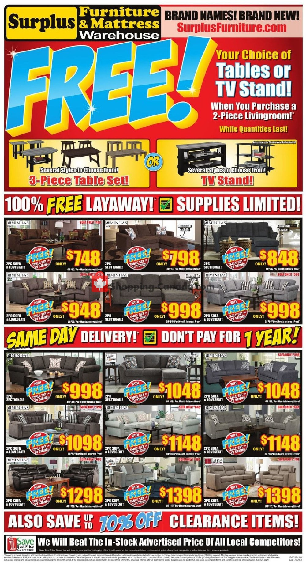 Flyer Surplus Furniture And Mattress Store Canada - from Tuesday October 1, 2019 to Monday October 14, 2019