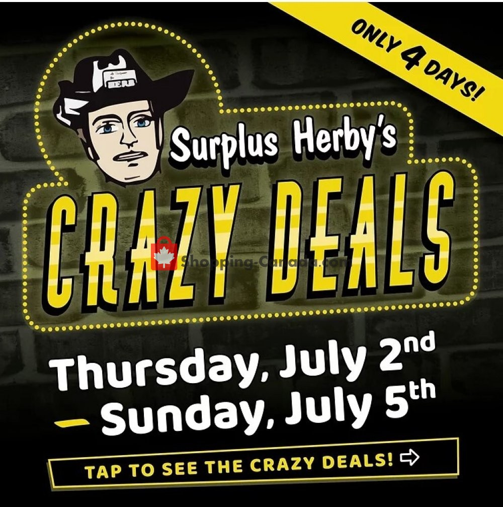 Flyer Surplus Herby's Canada - from Thursday July 2, 2020 to Sunday July 5, 2020