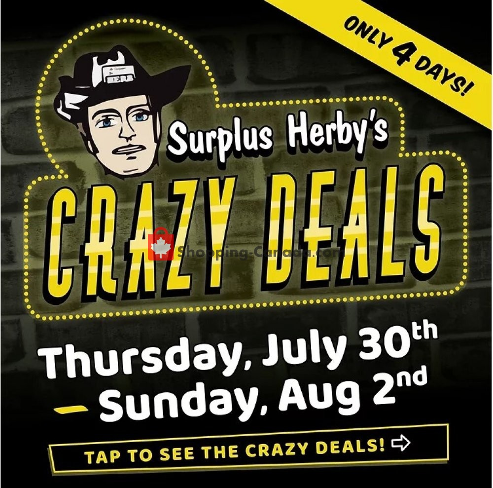 Flyer Surplus Herby's Canada - from Thursday July 30, 2020 to Sunday August 2, 2020