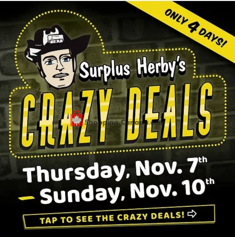 Flyer Surplus Herby's Canada - from Thursday November 7, 2019 to Sunday November 10, 2019