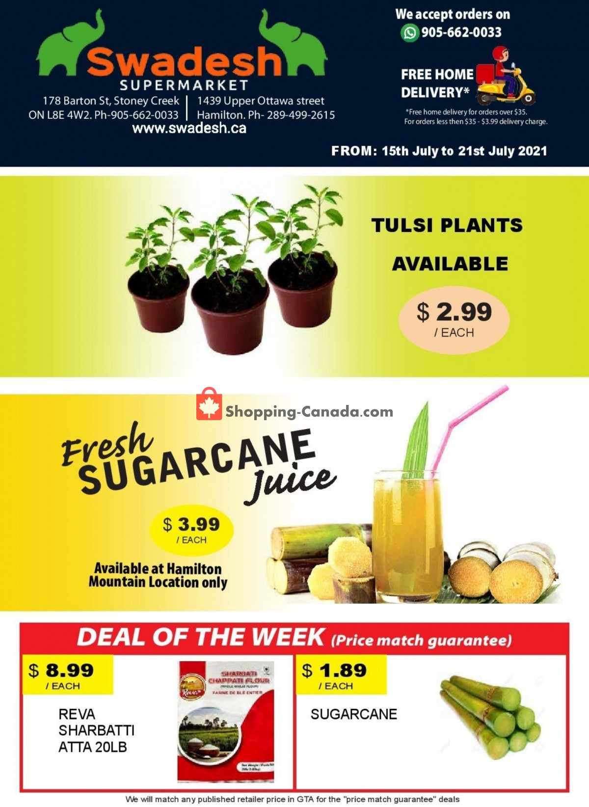 Flyer Swadesh Supermarket Canada - from Thursday July 15, 2021 to Wednesday July 21, 2021
