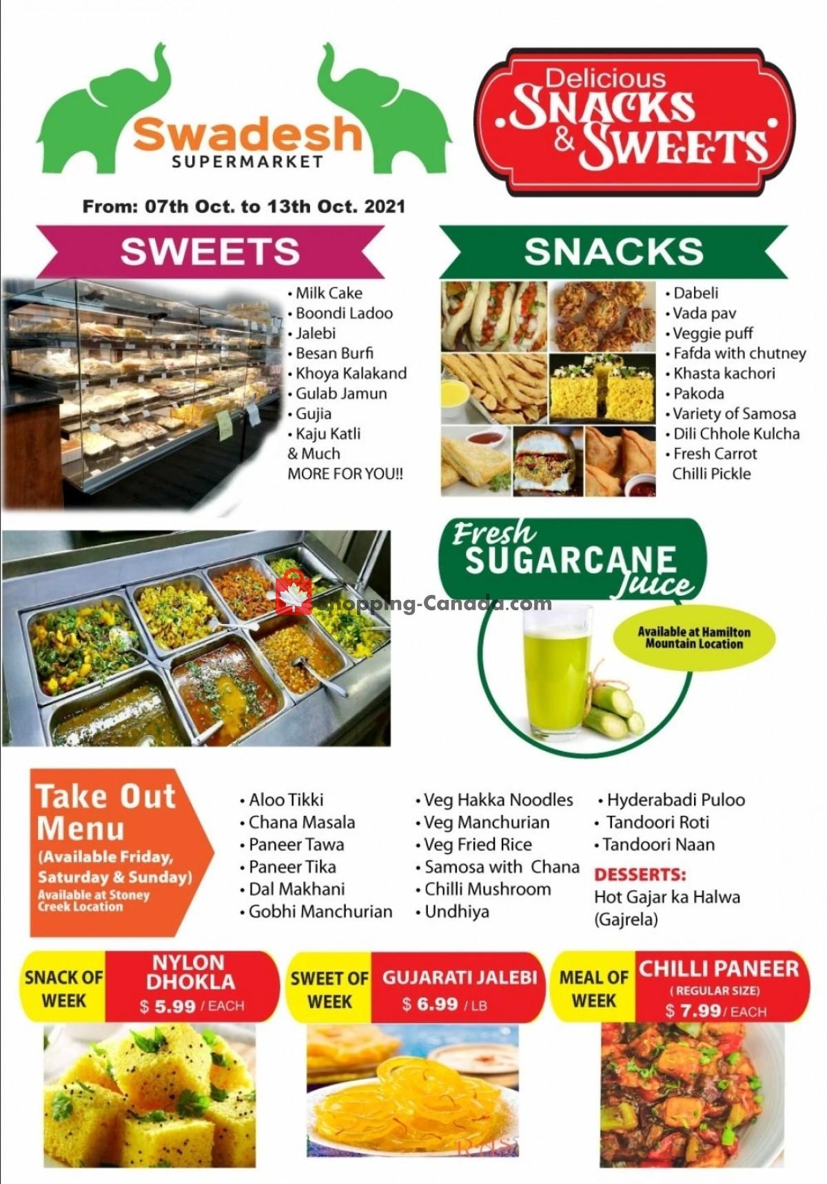 Flyer Swadesh Supermarket Canada - from Thursday October 7, 2021 to Wednesday October 13, 2021
