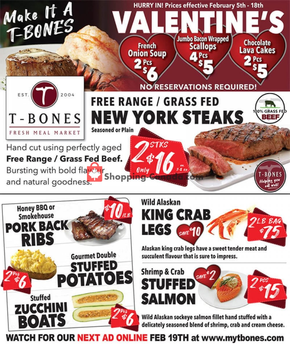 Flyer T-Bone's Canada - from Wednesday February 5, 2020 to Tuesday February 18, 2020