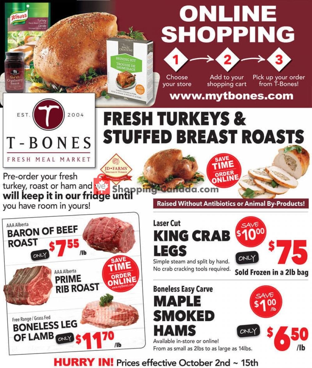 Flyer T-Bone's Canada - from Wednesday October 2, 2019 to Tuesday October 15, 2019