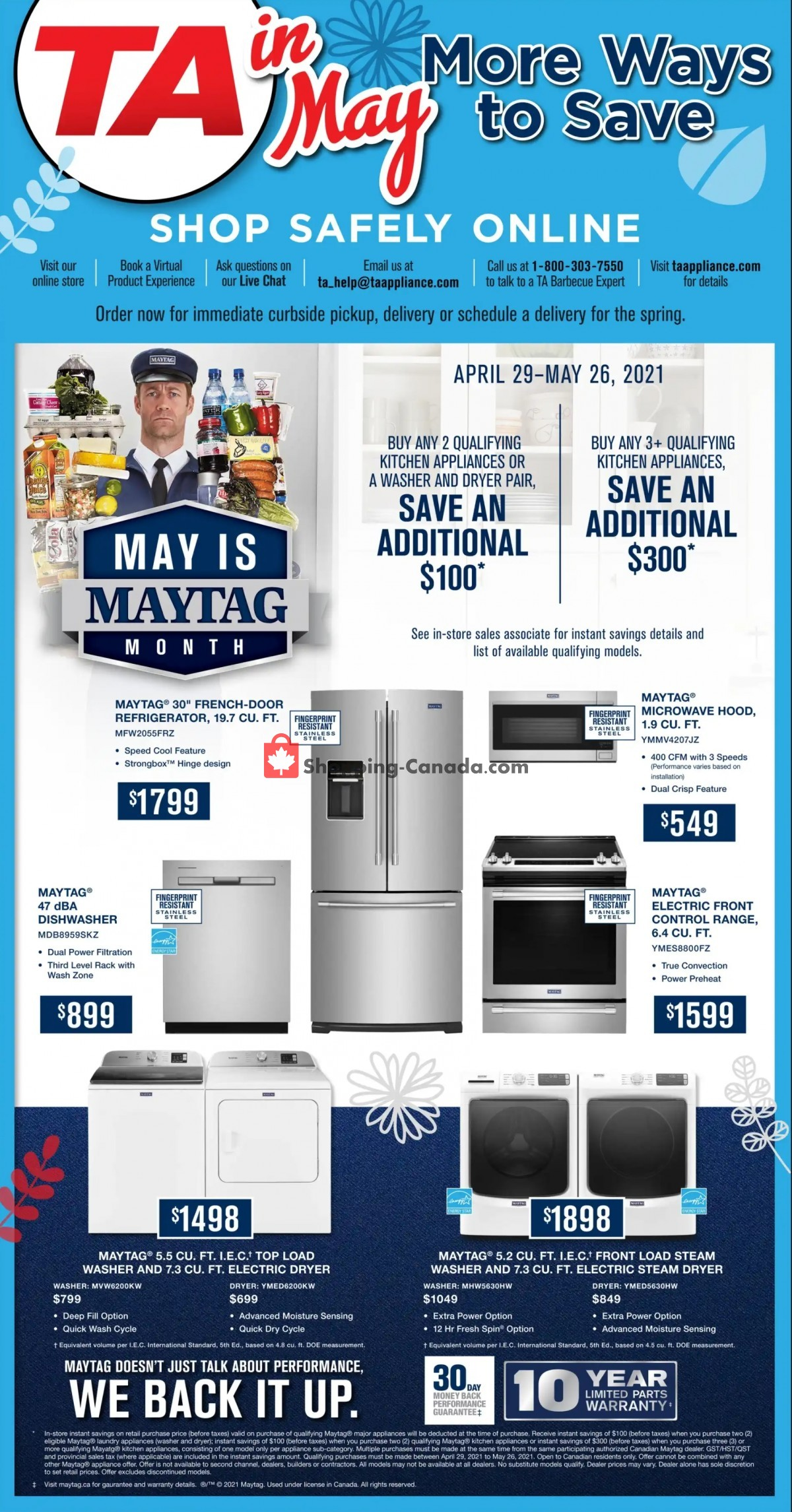 Flyer TA Appliances & Barbecues Canada - from Thursday April 29, 2021 to Wednesday May 26, 2021