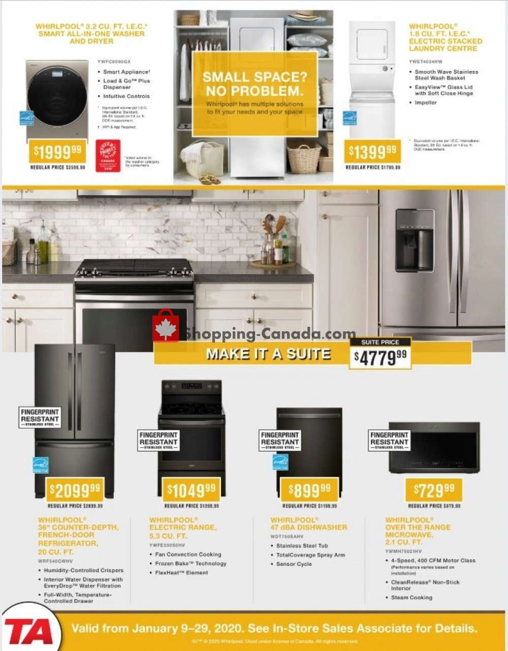 Flyer TA Appliances & Barbecues Canada - from Thursday January 9, 2020 to Wednesday January 29, 2020
