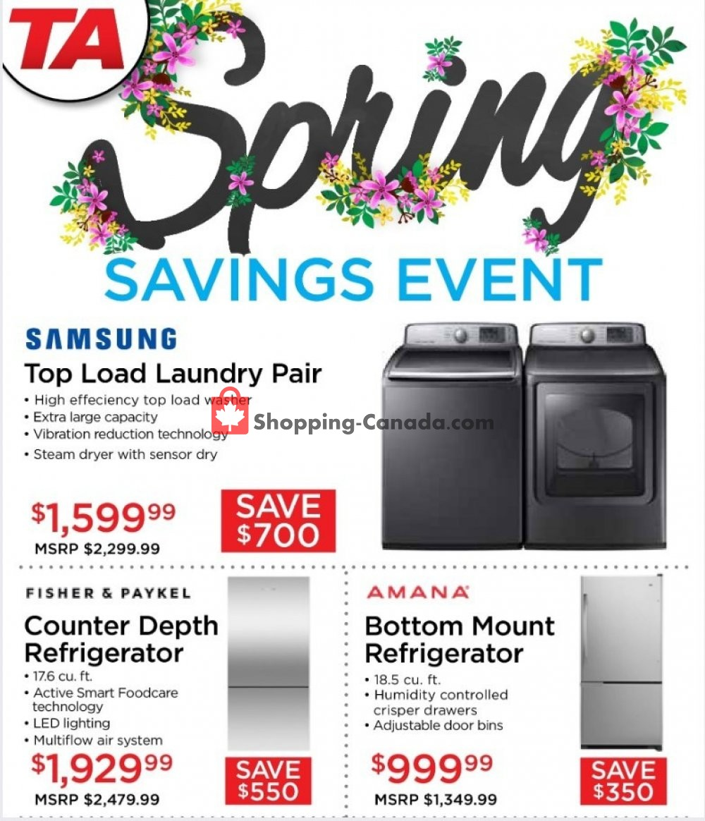 Flyer TA Appliances & Barbecues Canada - from Wednesday May 8, 2019 to Friday May 31, 2019