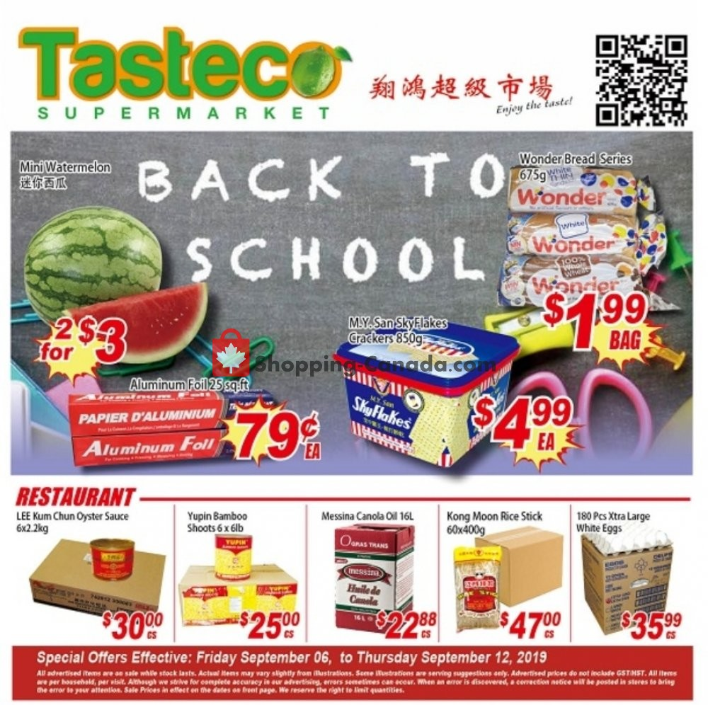 Flyer Tasteco Supermarket Canada - from Friday September 6, 2019 to Thursday September 12, 2019