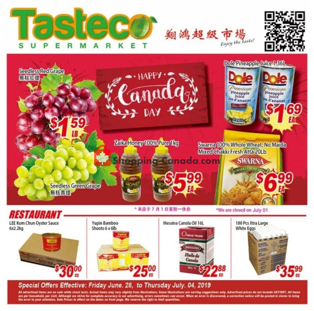 Flyer Tasteco Supermarket Canada - from Friday June 28, 2019 to Thursday July 4, 2019
