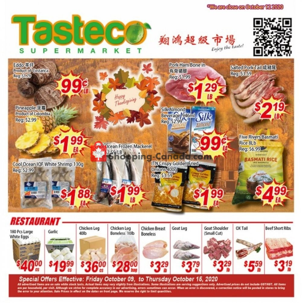 Flyer Tasteco Supermarket Canada - from Friday October 9, 2020 to Thursday October 15, 2020