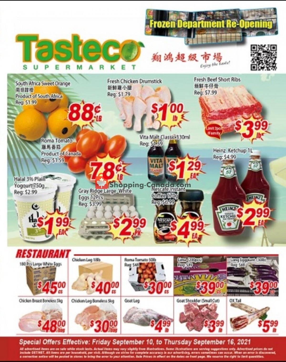 Flyer Tasteco Supermarket Canada - from Friday September 10, 2021 to Thursday September 16, 2021