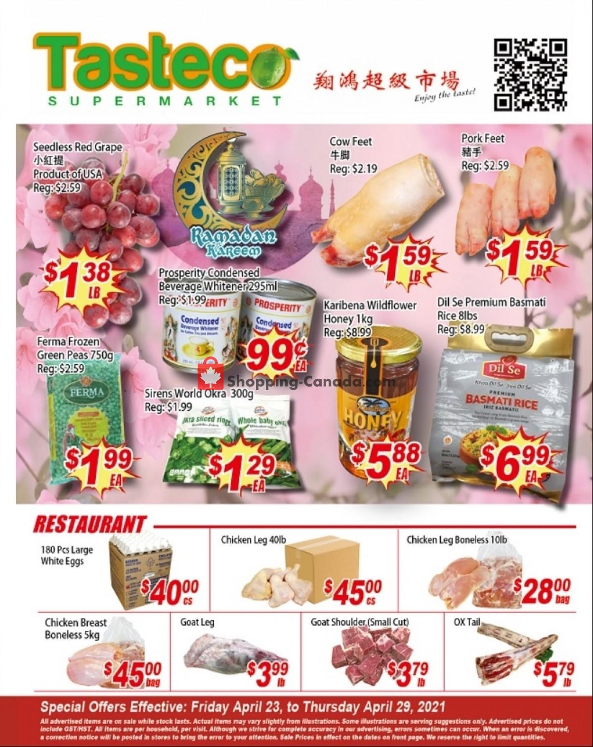 Flyer Tasteco Supermarket Canada - from Friday April 23, 2021 to Thursday April 29, 2021