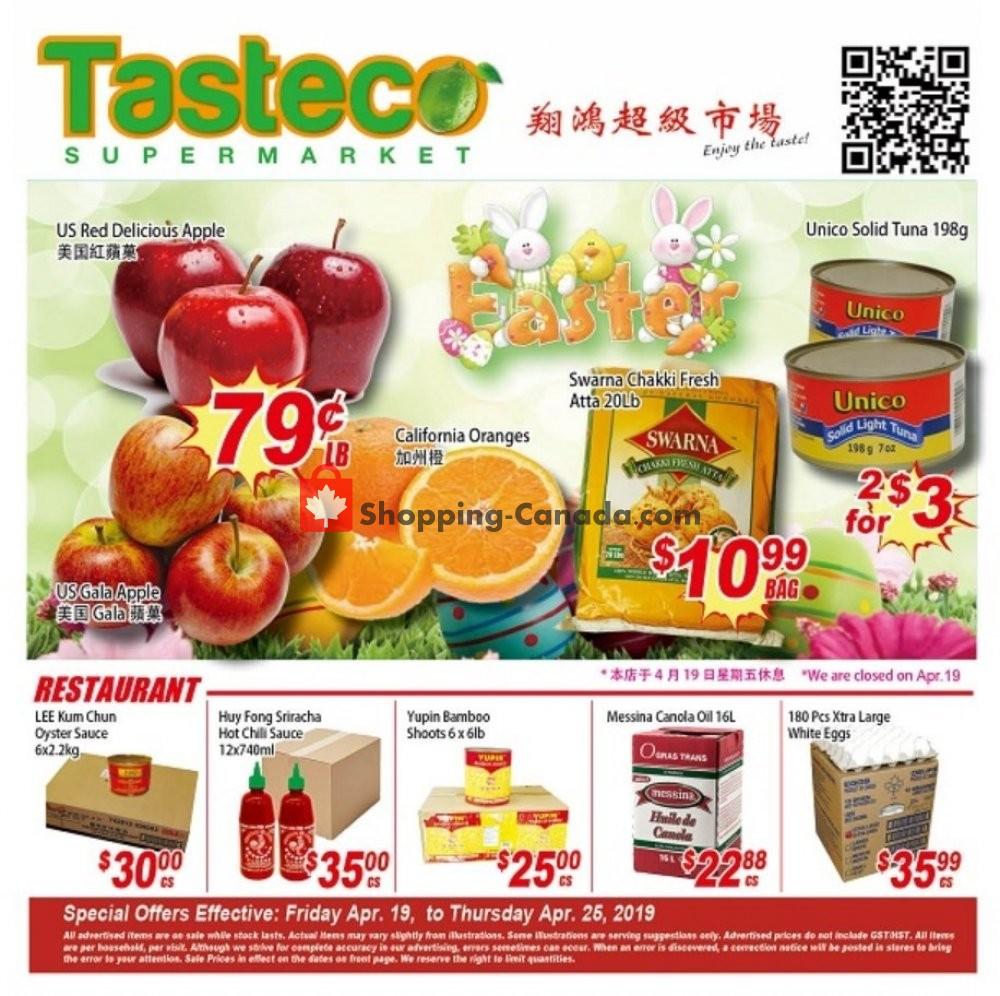 Flyer Tasteco Supermarket Canada - from Friday April 19, 2019 to Thursday April 25, 2019