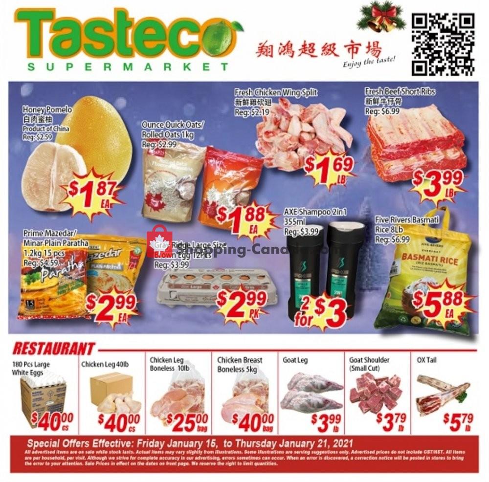 Flyer Tasteco Supermarket Canada - from Friday January 15, 2021 to Thursday January 21, 2021