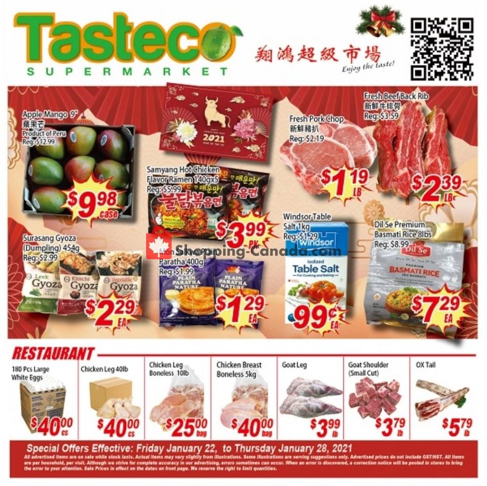 Flyer Tasteco Supermarket Canada - from Friday January 22, 2021 to Thursday January 28, 2021