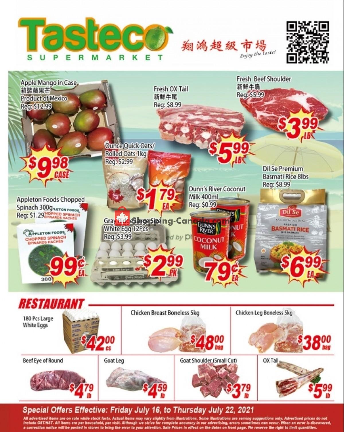 Flyer Tasteco Supermarket Canada - from Friday July 16, 2021 to Thursday July 22, 2021