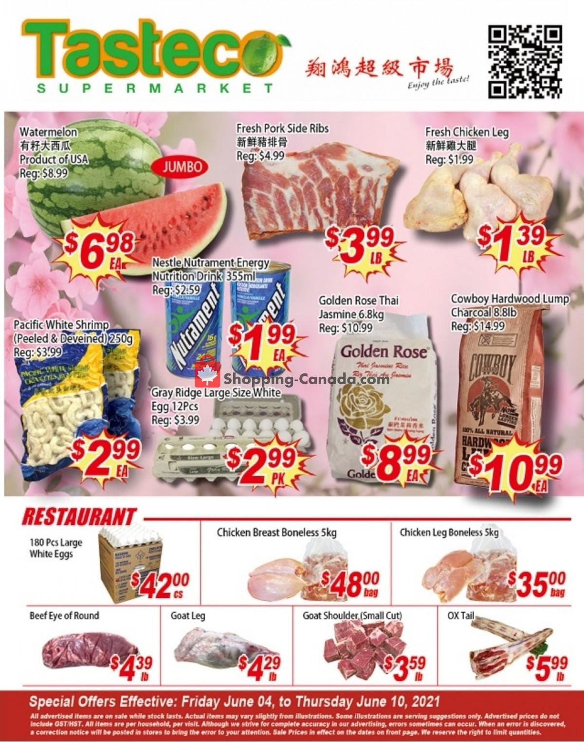Flyer Tasteco Supermarket Canada - from Friday June 4, 2021 to Thursday June 10, 2021