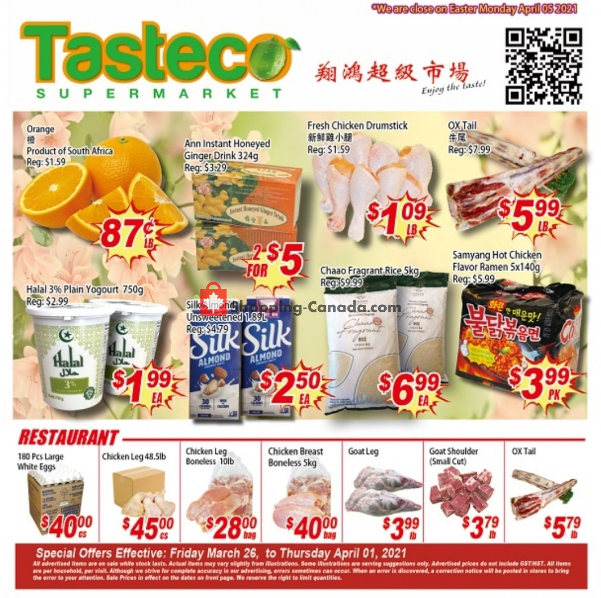 Flyer Tasteco Supermarket Canada - from Friday March 26, 2021 to Thursday April 1, 2021
